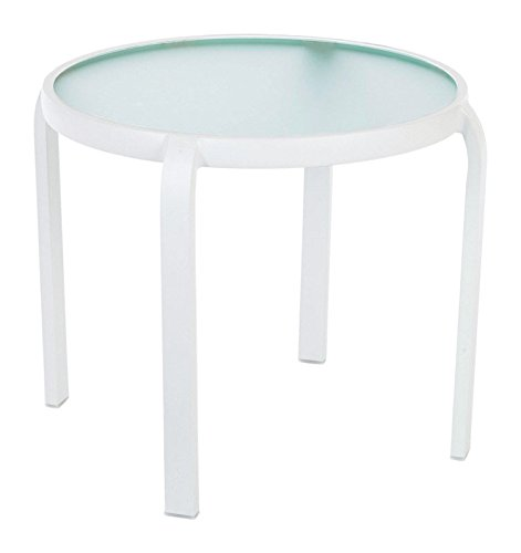 (Living Accents Stackable Glass Top White Yukon Round End Table)