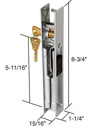 CRL Keyed Sliding Glass Door Handle Set; 5-11/16'' Screw Holes by C.R. Laurence