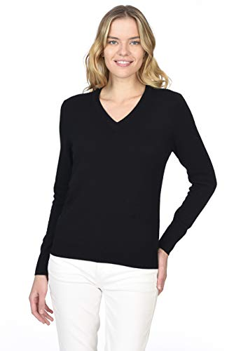 State Cashmere Essential V-Neck Sweater 100% Pure Cashmere Long Sleeve Pullover for Women (Black, Small)