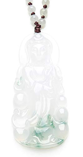 MPH-jewelry Natural Jadeite Jade Pendant Necklace Carved GuanYin/KuanYin (Grade A)