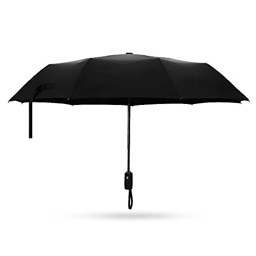 Automatic Travel Umbrella, Patec Windproof Compact Umbrella Water-repellent Canopy Auto Open and Close Folding Umbrella for One-Handed Operation