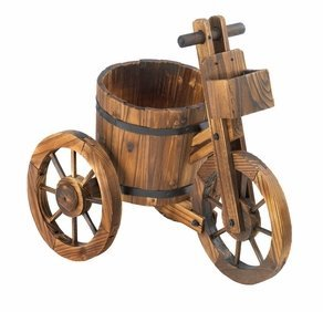 SKB Family Barrel Tricycle Planter holder potted plant authentic wooden handlebars wheels (Wooden Barrels Rain)