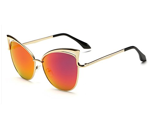Tansle womens Metal cateye sunglasses hollow designed gold fram black ()