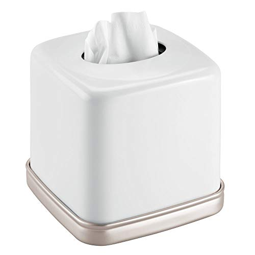 (mDesign Square Metal Paper Facial Tissue Box Cover Holder for Bathroom Vanity Countertops, Bedroom Dressers, Night Stands, Home Office Desks, Tables - Matte White/Satin )