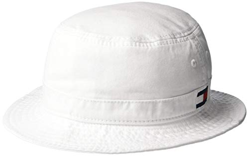 Tommy Hilfiger Men's Ardin Bucket Hat, White, L/X-Large (Embroidery Bucket Hat)