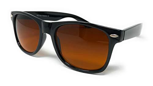 Sunglasses Classic 80's Vintage Style Design (Black Gloss, Amber Blue ()