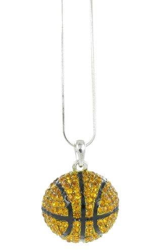 Half Sphere Basketball Pave Rhinestone Pendant Necklace - Topaz Crystal, Black Enamel - Pave Sphere