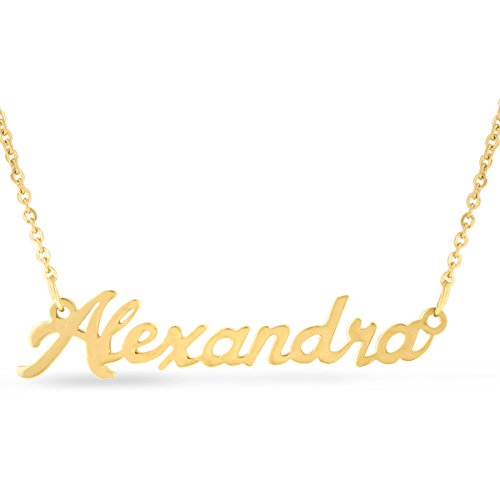 Alexandra Nameplate Necklace In Gold (Gold Nameplate Pendant)