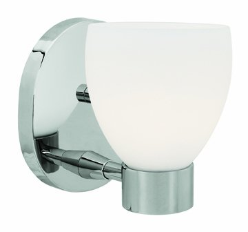 Brushed Steel / Opal Single Light Up Lighting 5In. Wide Bathroom Fixture From The Frisco Collection