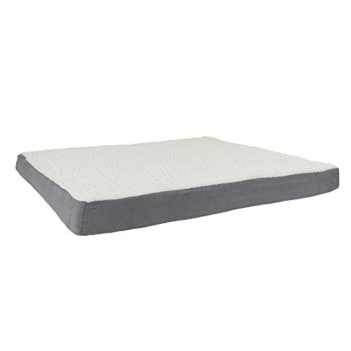 PETMAKER Orthopedic Sherpa Top Pet Bed with Memory Foam and Removeable Cover 44x35x4.75 Gray