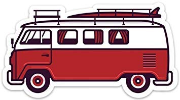 2 Pack VW Surf Van Bus Stickers Decals Large 5 x 2.73 1 Blue Wave /& 1 Red