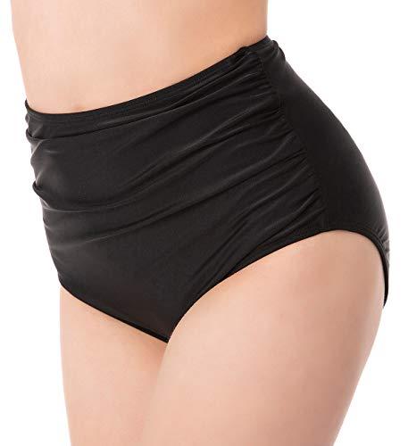 Remody Ruched Bikini Bottoms for Women Black Retro High Waisted Tankini Swim Shorts, Medium