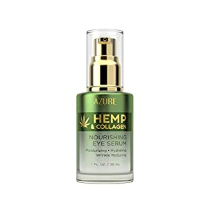 AZURE Hemp & Collagen Nourishing Eye Serum – Moisturizing, Firming & Toning | Reduces Wrinkles, Fine Lines & Under Eye…