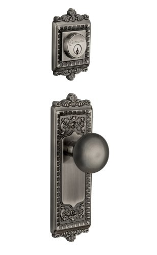 Grandeur Windsor Plate with Fifth Avenue Knob and Matching Deadbolt Complete Single Cylinder Combo Pack Set, Antique Pewter