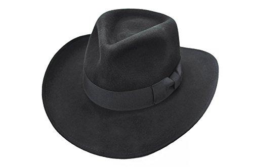 Men's Wool Felt Crushable Indiana Jones Outback Safari Fedora Cowboy Western Hat (L/XL, Black)