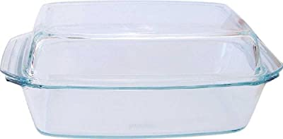 Simax Glassware 7156/7166 Oblong Casserole Pan with High Lid, 3-Quart