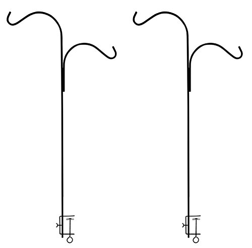 Ashman Double Span Black Deck Hook (2 pack), 46-Inch Length, Super Strong and ideal for Bird Feeders, Plant Hangers, Coconut Shell, Hanging Baskets, Lanterns, Wind Chimes and more! (Hanger Super Hook)