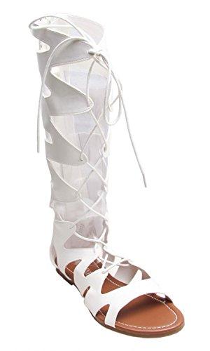 Pepper Bianco Al Misura Gladiatore sandali Modello Ginocchio Strappy Salt 35 Stile Da stivali 5 Donna 43 fdnaZ