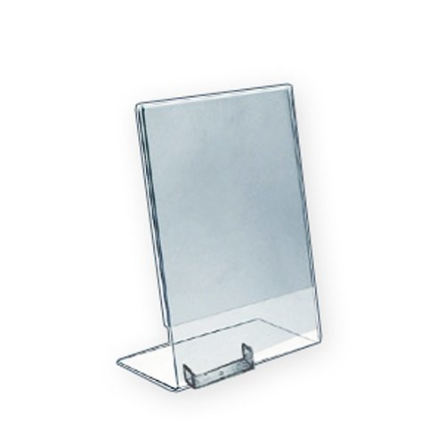 Azar 252050 Vertical Slanted L-Shaped Sign Holder with Business Card Pocket 8.5-Inch Width by 11-Inch Height, 10-Pack