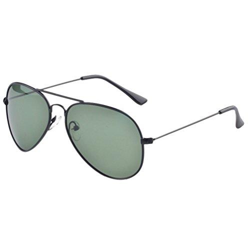 Polarisées Aviateur Cadre Eyewear Noir LINNUO UV Lentille Lunettes Soleil Sunglasses Vert Protection de Foncé Cadre Hommes Femmes Métal Plage Voyage w0XqA