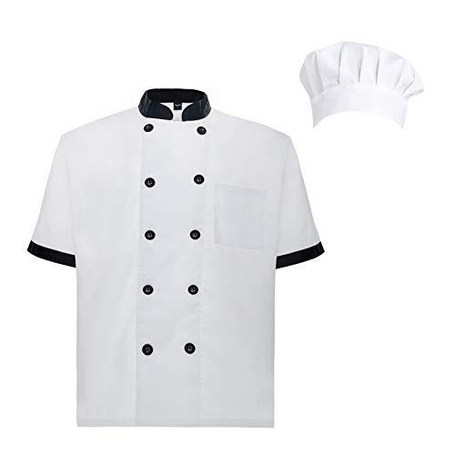 TOPTIE Unisex Short Sleeve Cooking Chef Coat Jacket & Hat & Bandana Set-Black White-XL ()
