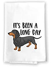 Honey Dew Gifts, Its Been A Long Day, 27 Inches by 27 Inches,Funny Dog Dish Towel, Wiener Kitchen Towel, Dachshund Kitchen Towel, Wiener Dog Tea Towels, Dachshund Lover Gifts