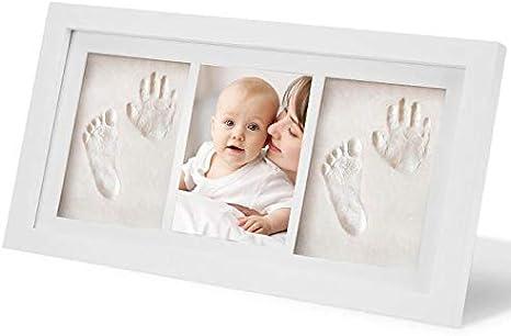 WesKimed bebé Handprint y Marco de huella Inkpad de fotos Regalos Babyparty seguros y elegantes Elegante blanco de madera sólida para recién nacidos/bebé Regalos,Blanco no tóxico