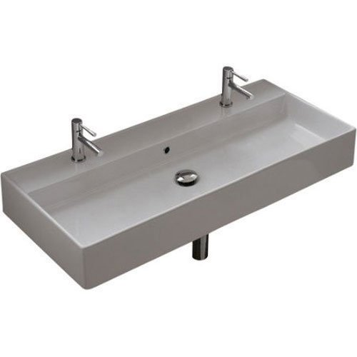 Scarabeo 8031/R-100B-Two Hole Teorema Rectangular Ceramic Wall Mounted/Vessel Sink, White