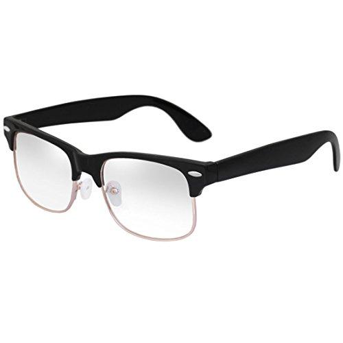 BIRCHs Classic Retro Wayfarer Style Half Frame Clear Lens ...