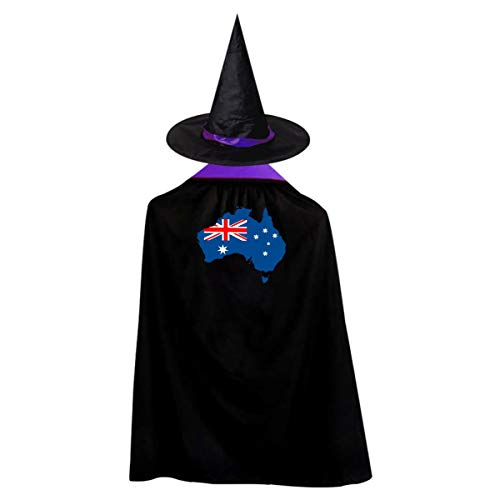 Australia Continent Shape Flag Witch Wizard Cloak Cape With Hat Halloween Costumes For Girls Boys
