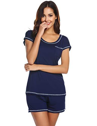Ekouaer Pajamas for Women Soft - Cotton Jersey Womens Pajamas(Navy Blue,Large)