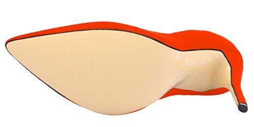 Scamosciata Partito Alto Scarpe Solido In Pelle Arancione Donne Tacco Delle Aooar Pompe tdvwqH4xt