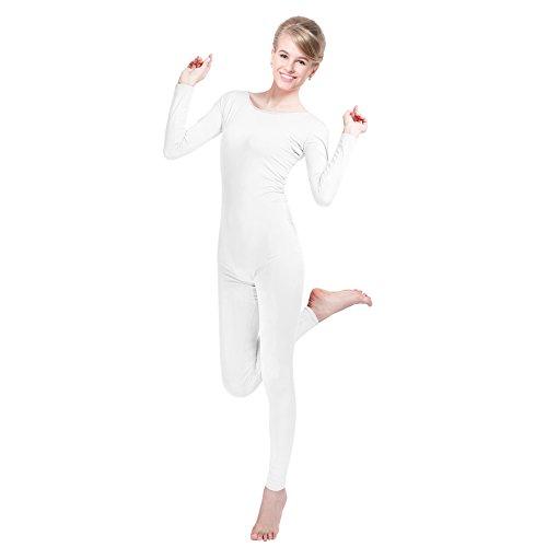 Unisex Lycra Spandex Unitard Scoop Neck Long Sleeves Footless Elastane Bodysuit Costume (M(5'1-5'5/110-132LB), White) - White Bodysuit Costumes