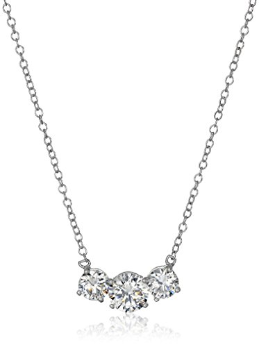 Sterling Silver Cubic Zirconia Three Stone Necklace, 16+2