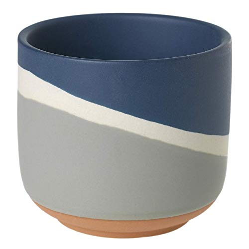 Grey and Navy Blue Geometric Striped Ceramic Round Vase - 4 x 4 x 3.5 Inches - Accent Decor Colorway Collection Modern Pot for Home Accents and Office Decor