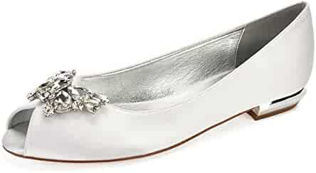 48f8f9323365 MarHermoso Womens Satin Peep Toe Butterfly Rhinstones Slip On Ballet Flats