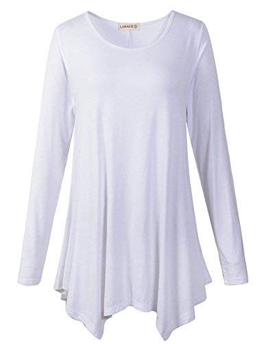 LARACE Womens Long Sleeve Flattering Comfy Tunic Loose Fit Flowy Top (1X, White)