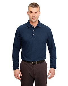 UltraClub Adult Long-Sleeve Classic Piqué Polo S NAVY