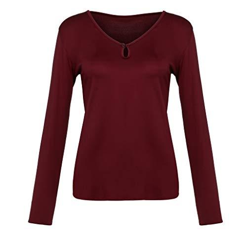 Donna Neck Button manica vino Camicetta Top Originals Logobeing Tunica T V shirt Abbigliamento lunga Casual gSwxqxR1d