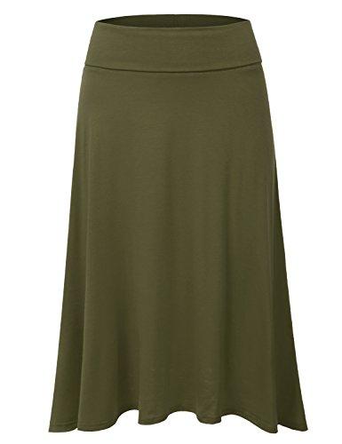 DRESSIS Women's Basic Elastic Waist Band Flared Midi Skirt OLIVE M