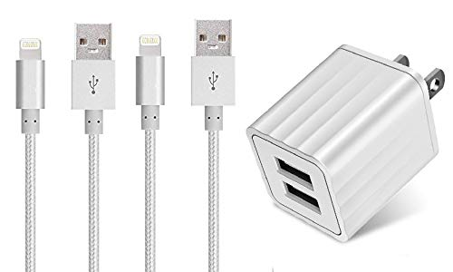 Necano MFi Certified iPhone Charger Lightning Cable USB Charging & Syncing Cord Compatible iPhone 11 Xs/Max/XR/X/8/8Plus/7/7Plus/6S/6S Plus/SE/iPad/with Dual USB Adapter 2 Pack