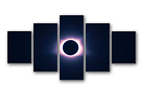 ky Eclipse Moon Sun - 5 Panels Wall Art Canvas Stretched with Wooden Frame for Home Decor - Ready to Hang (8