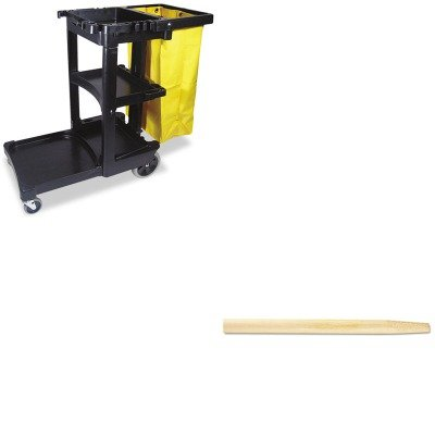 KITBWK124RCP617388BK - Value Kit - Boardwalk Tapered End Broom Handle (BWK124) and Rubbermaid Cleaning Cart with Zippered Yellow Vinyl Bag, Black (RCP617388BK) by Boardwalk