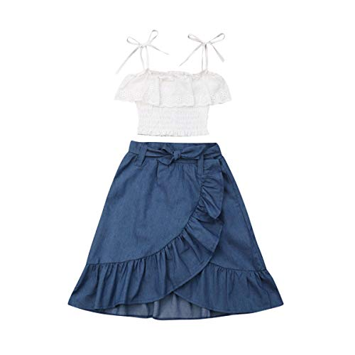Toddler Baby Girl Lace Flower Off Shoulder Crop Top Denim Shorts Maxi Skirt Outfits Summer Clothes Set (lace Shirt+Denim Skirt, 4-5 Years)