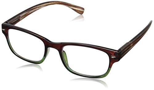 Peepers Aficionado Rectangular Reading Glasses, Brown & Green, 2.5