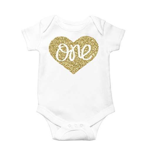 thday Onesie Sparkly Gold One inside Heart design 1st Birthday Onesie Girl, Gold, 12-18 months short sleeve ()
