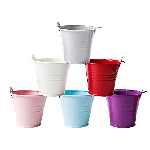 Oisee Candy-Colored Tinplate Mini Metal Bucket Home Decoration Small Iron Bucket Wedding Party Gifts Pack of 12(Random Colors) -