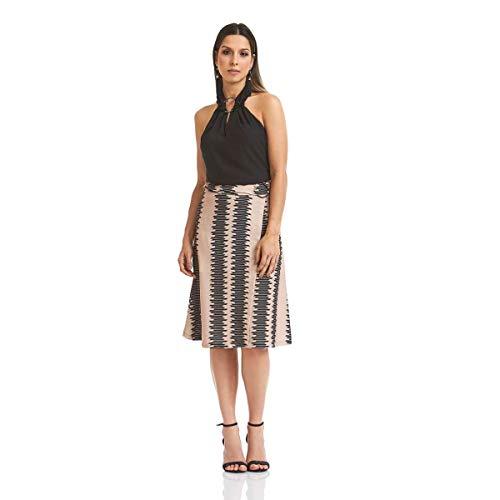 Saia Acostamento Feminino Fashion Geometric Midtown Sepia Estampado