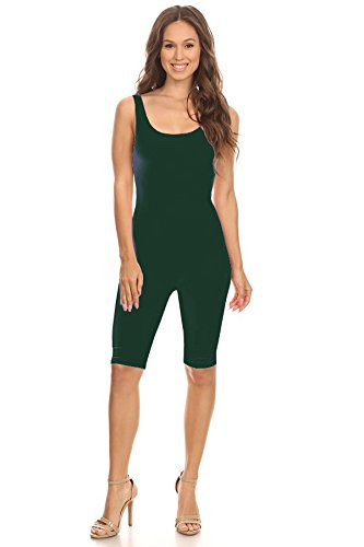 Women Sleeveless Stretch Skinny Solid Knee Length Sport Unitard Bodysuits Active (2X-Large, Green)]()