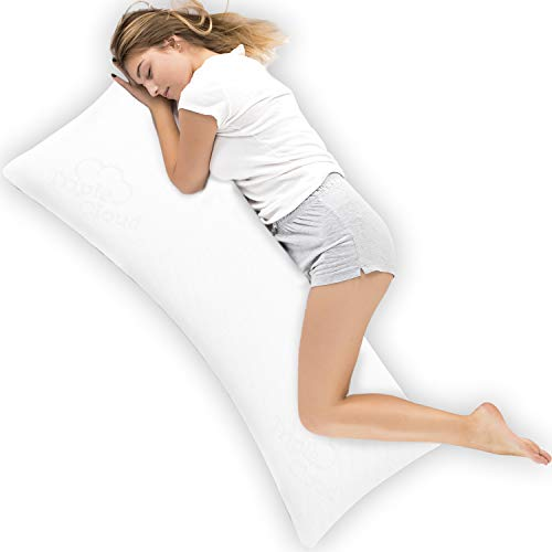 Triple Cloud Body Pillow Ultra Luxury Bamboo Shredded Memory Foam Full Size Body Pillow Cooling Breathable Pillow Outer Fabric - Fits 20 x 54 inch Body Pillow Cases & Covers